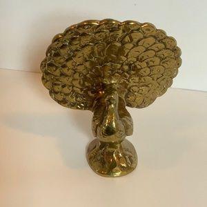 VINTAGE Miniature UK brass peacock paperweight